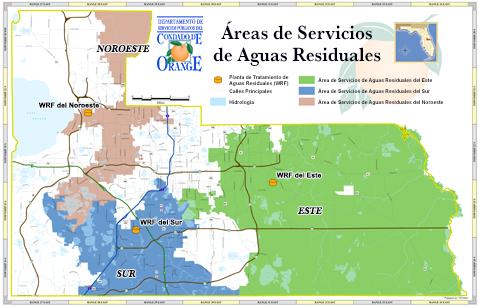 Mapa de las Áreas de Servicios de Aguas Residuales de del Condado de Orange, Florida. El Área de Servicios del Noroeste cubre la zona no incorporada del Condado de Orange desde cerca de Apopka, hacia el sur hasta Chase Road al sur de Lake Butler. La Planta de Reciclaje de Agua del Noroeste se encuentra ubicada al este de FL-429 y al sur de FL-414. El Área de Servicios del Sur cubre la zona no incorporada del Condado de Orange, desde el sur de Tilden Road, hacia el este hasta Lake Conway, y hacia el sur hasta el límite del condado. La Planta de Reciclaje de Agua del Sur se encuentra en Sand Lake Road, al oeste de la autopista de Florida. El Área de Servicios del Este cubre la zona no incorporada del Condado de Orange desde Lake Conway, hacia el este hasta los límites norte, este y sur del condado. La Planta de Reciclaje de Agua del este se encuentra en Alafaya Trail, al sur de FL-408.